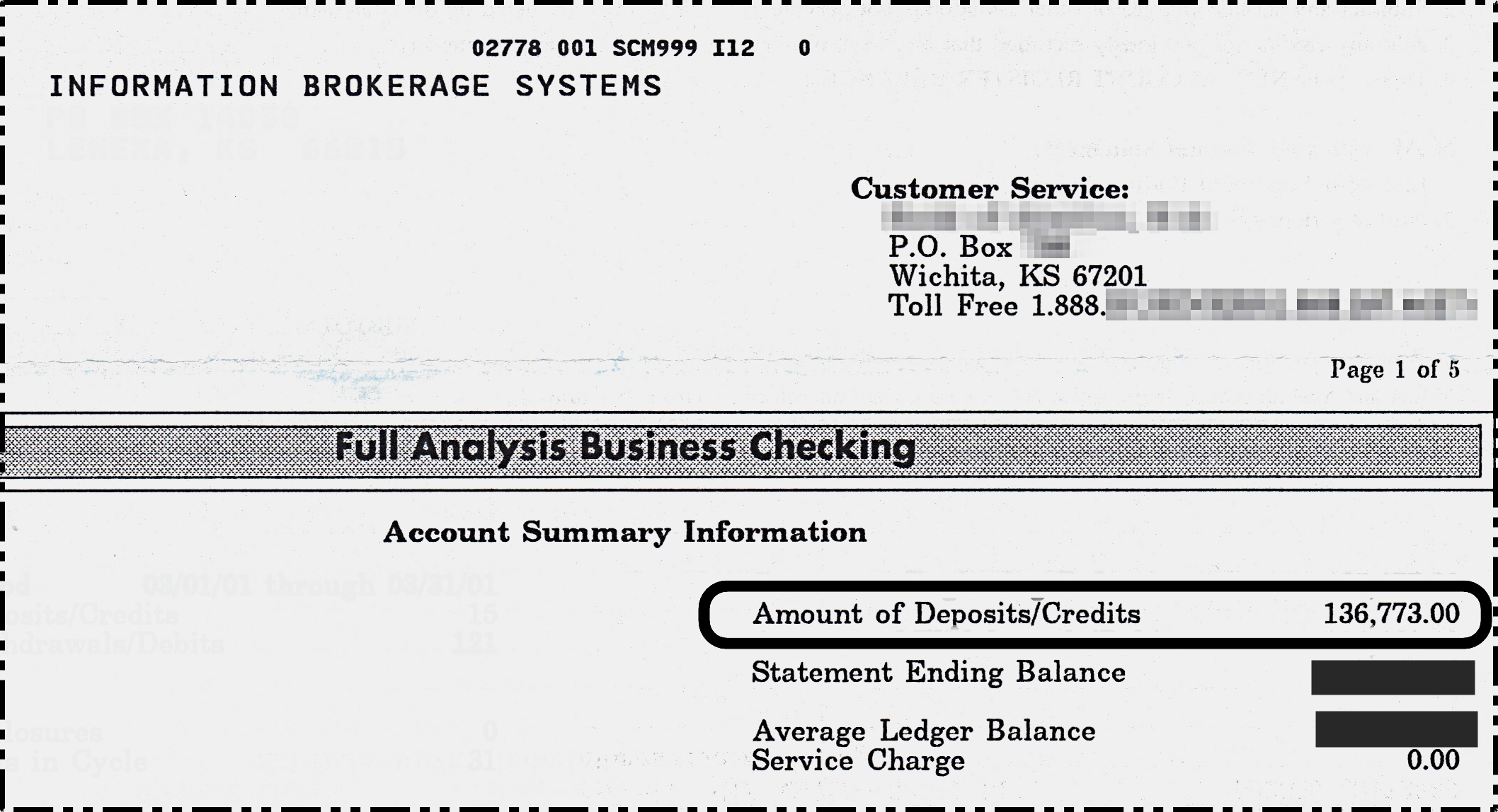 $136,773.00 Bank Statement