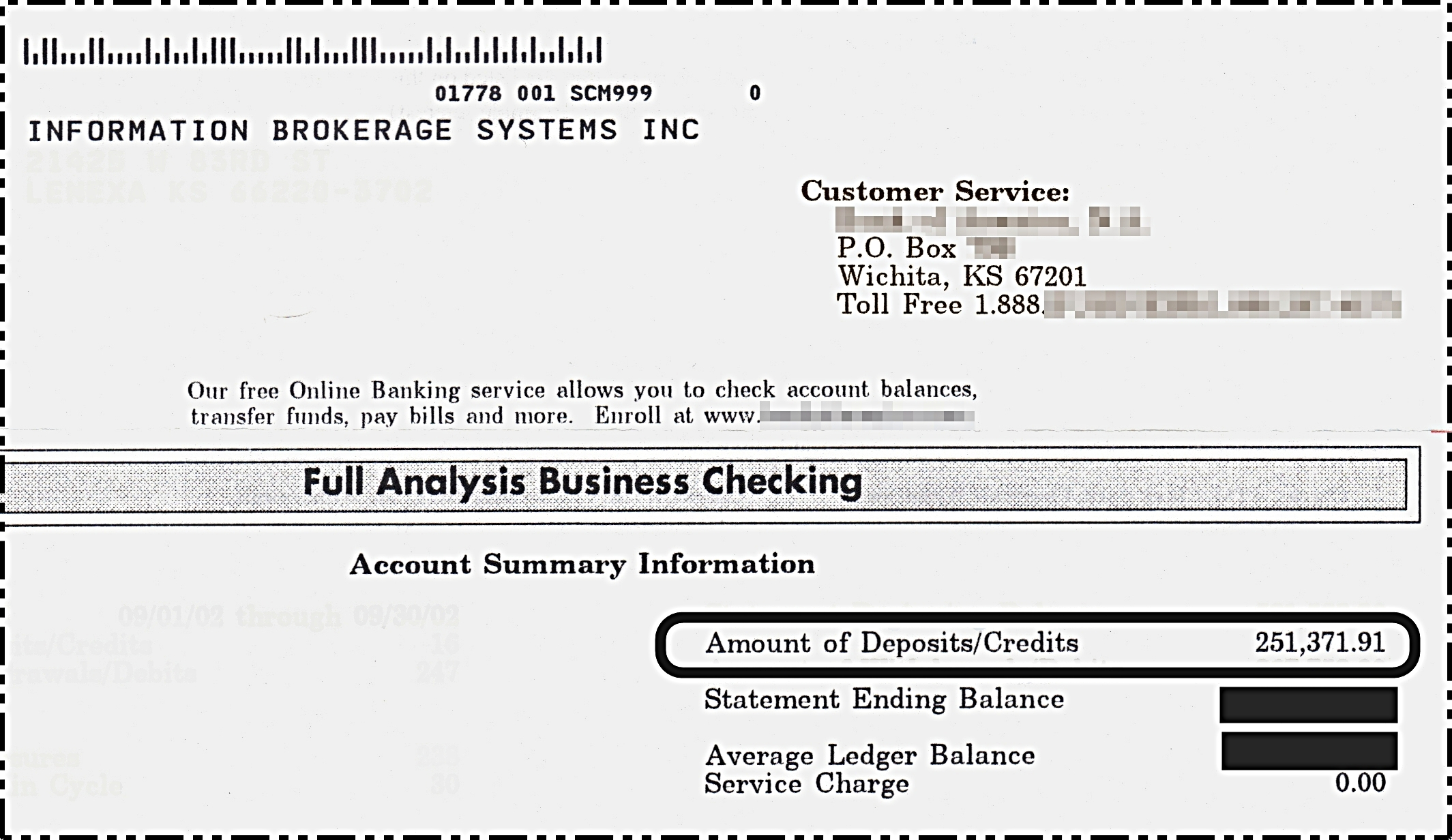 $251,371.91 Bank Statement