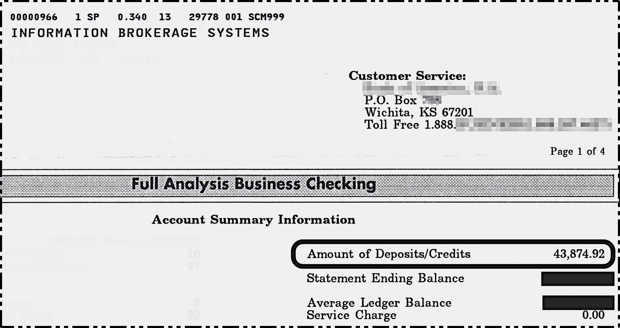 $43,874.92 Bank Statement
