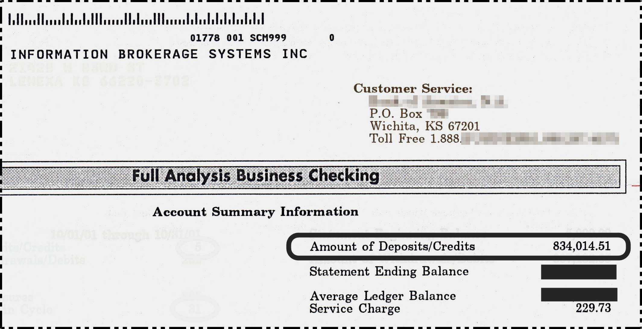 $834,014.51 Bank Statement