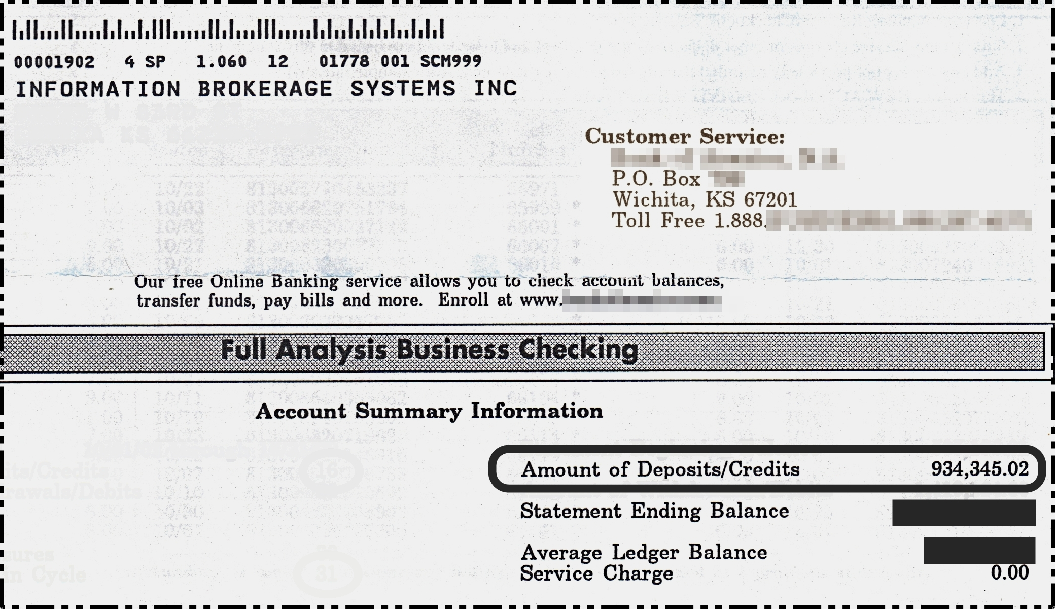 $934,345.02 Bank Statement